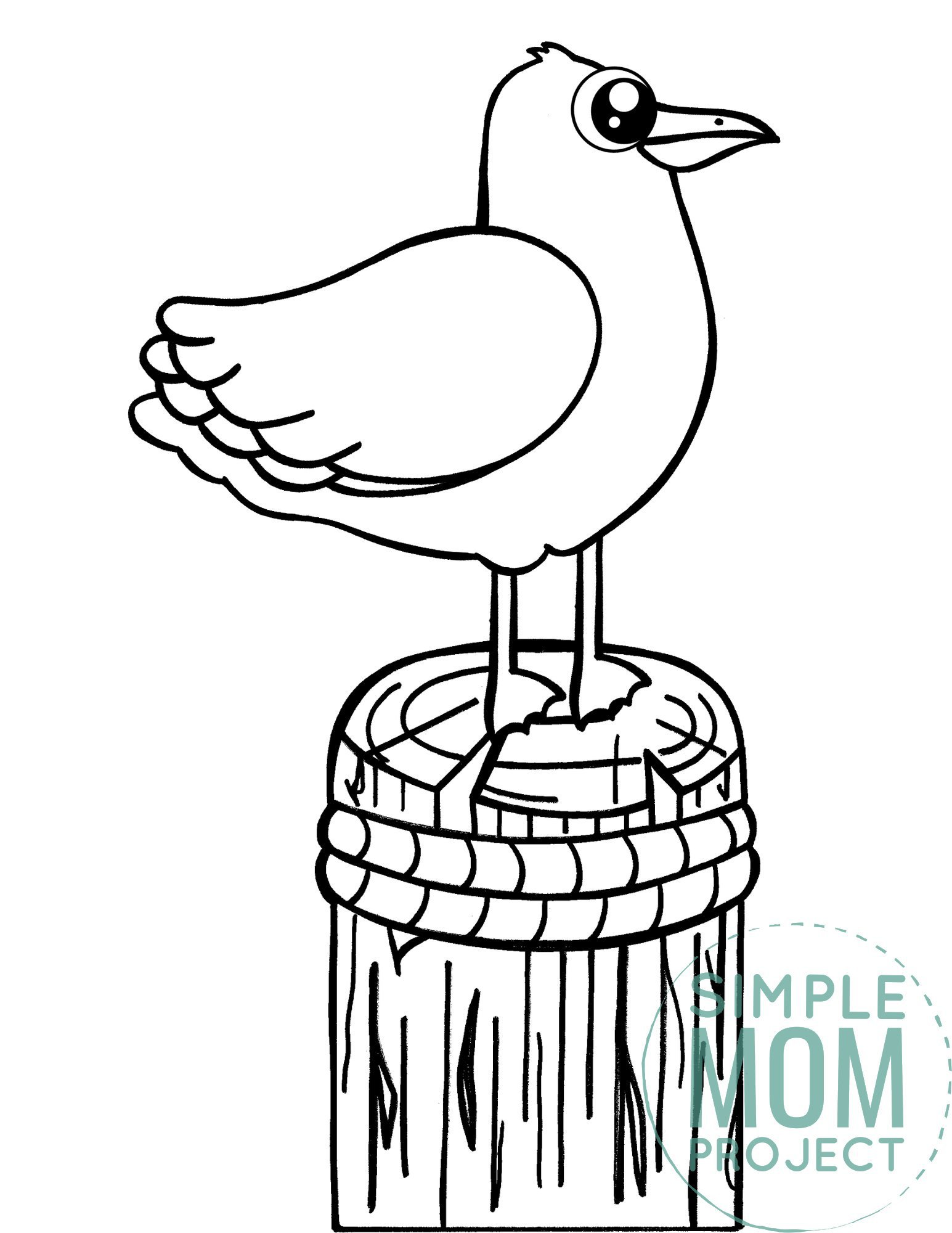 Free Printable Seagull Ocean Animal Coloring Page for Kids