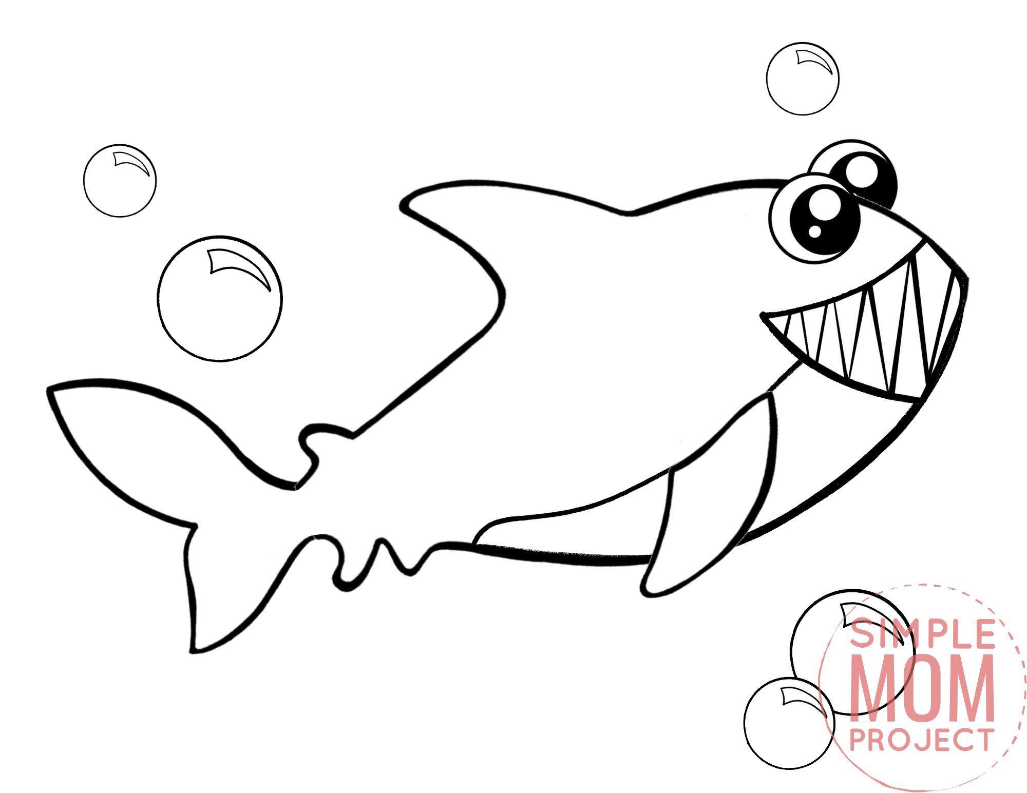Printable Shark Ocean Animal Coloring Page for Kids