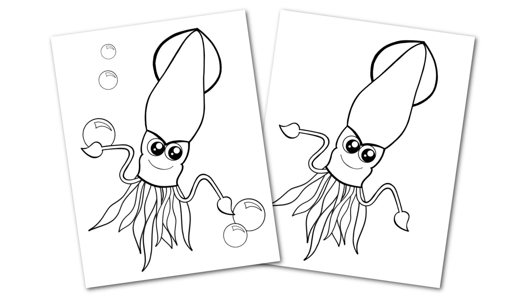 Free Printable Squid Ocean Animal Convertkit for Toddlers, Kids and Preschoolers