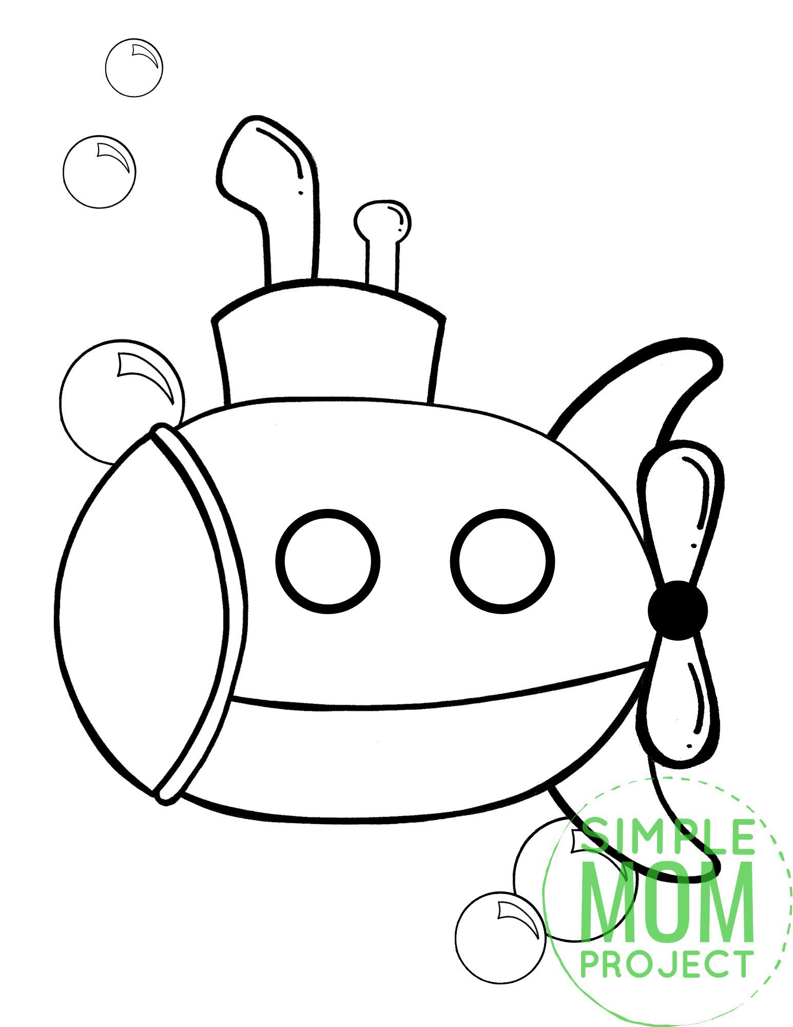 Printable Submarine Ocean Animal Coloring Page for Kids