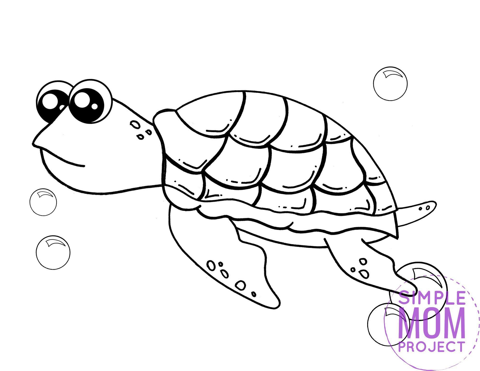 Printable Turtle Ocean Animal Coloring Page for Kids