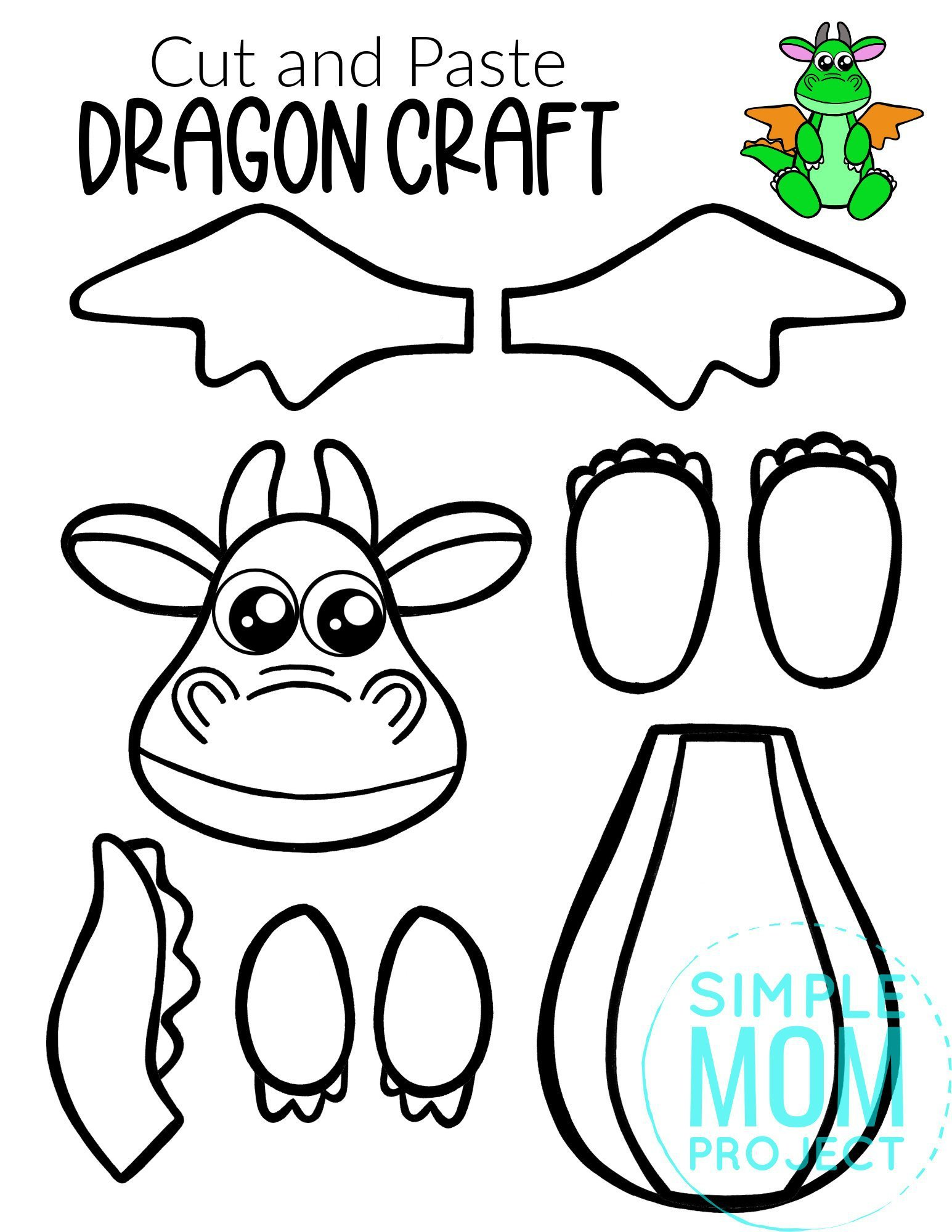 Free Printable Cut and Paste Dragon Craft Template Craft for kids, preschoolers and toddlers