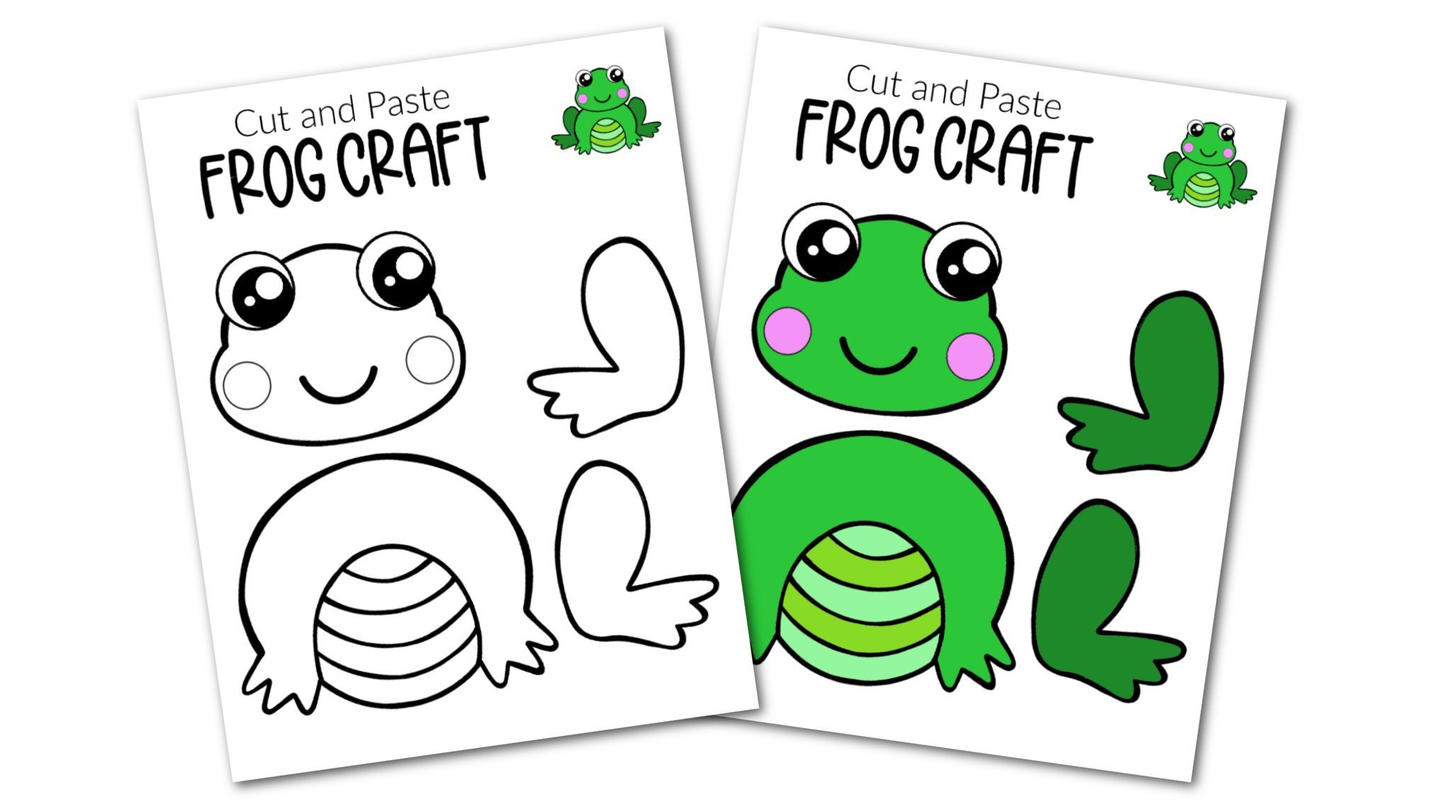 Free Printable Cut and Paste Frog Craft Template Craft for kids, preschoolers and toddlers