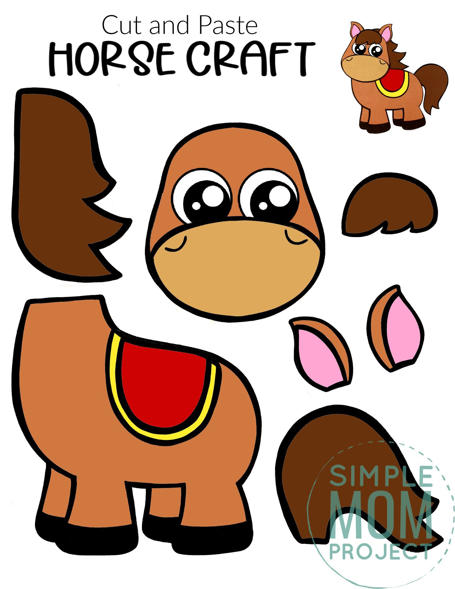 Free Printable Cut and Paste Horse Craft Template Craft for kids, preschoolers and toddlers