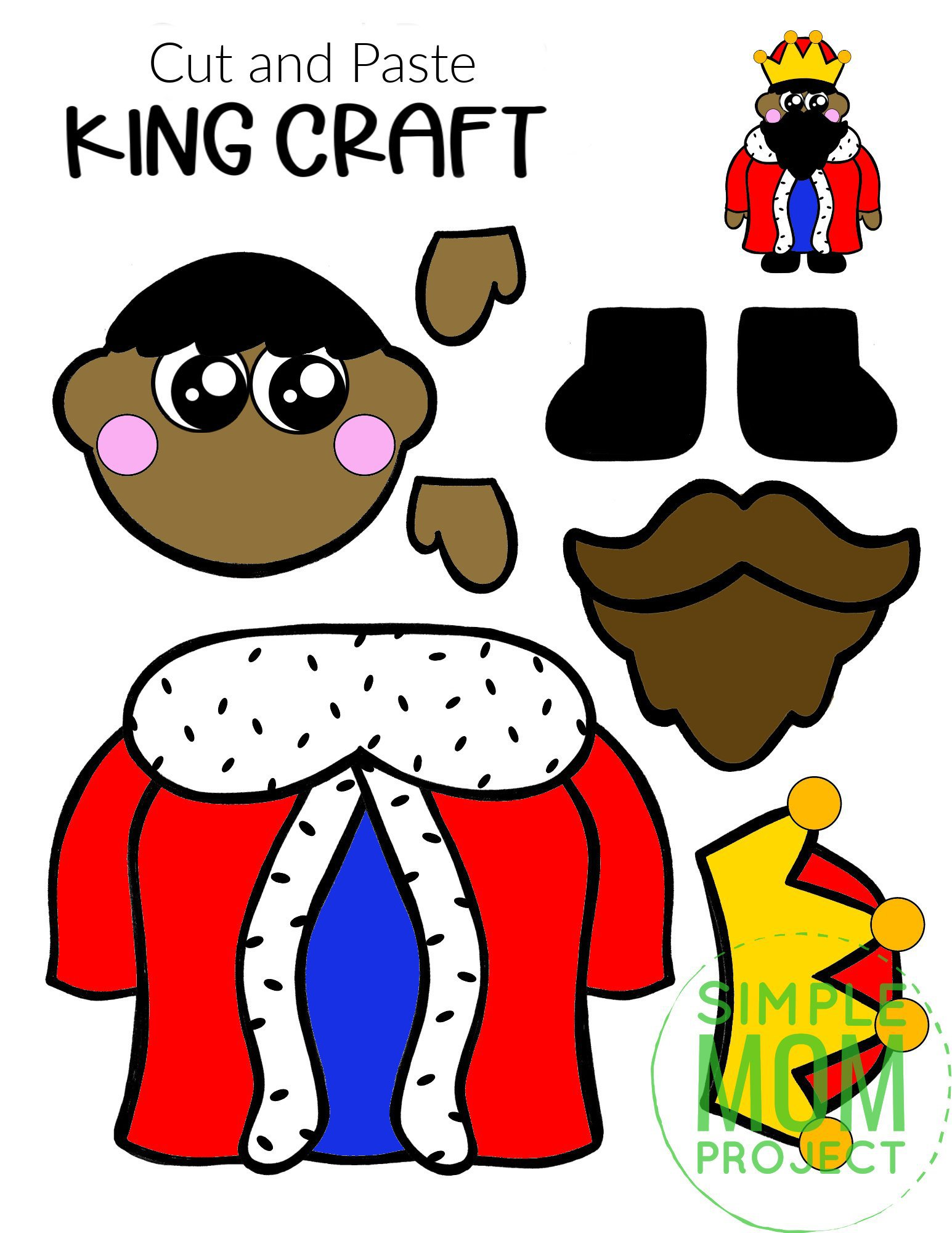 Free Printable Cut and Paste King Craft Template Craft for kids, preschoolers and toddlers