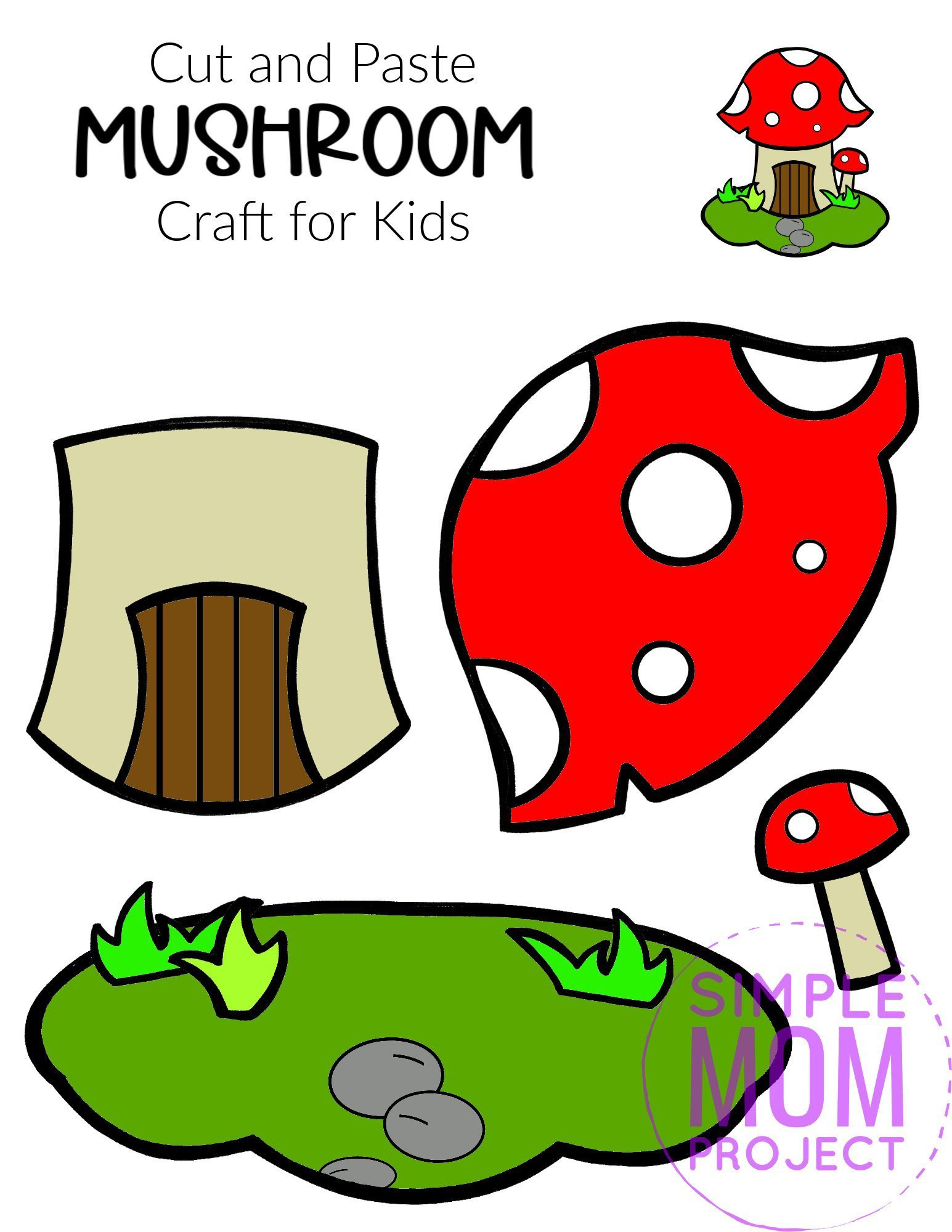 Free Printable Cut and Paste Mushroom Craft Template Craft for kids, preschoolers and toddlers