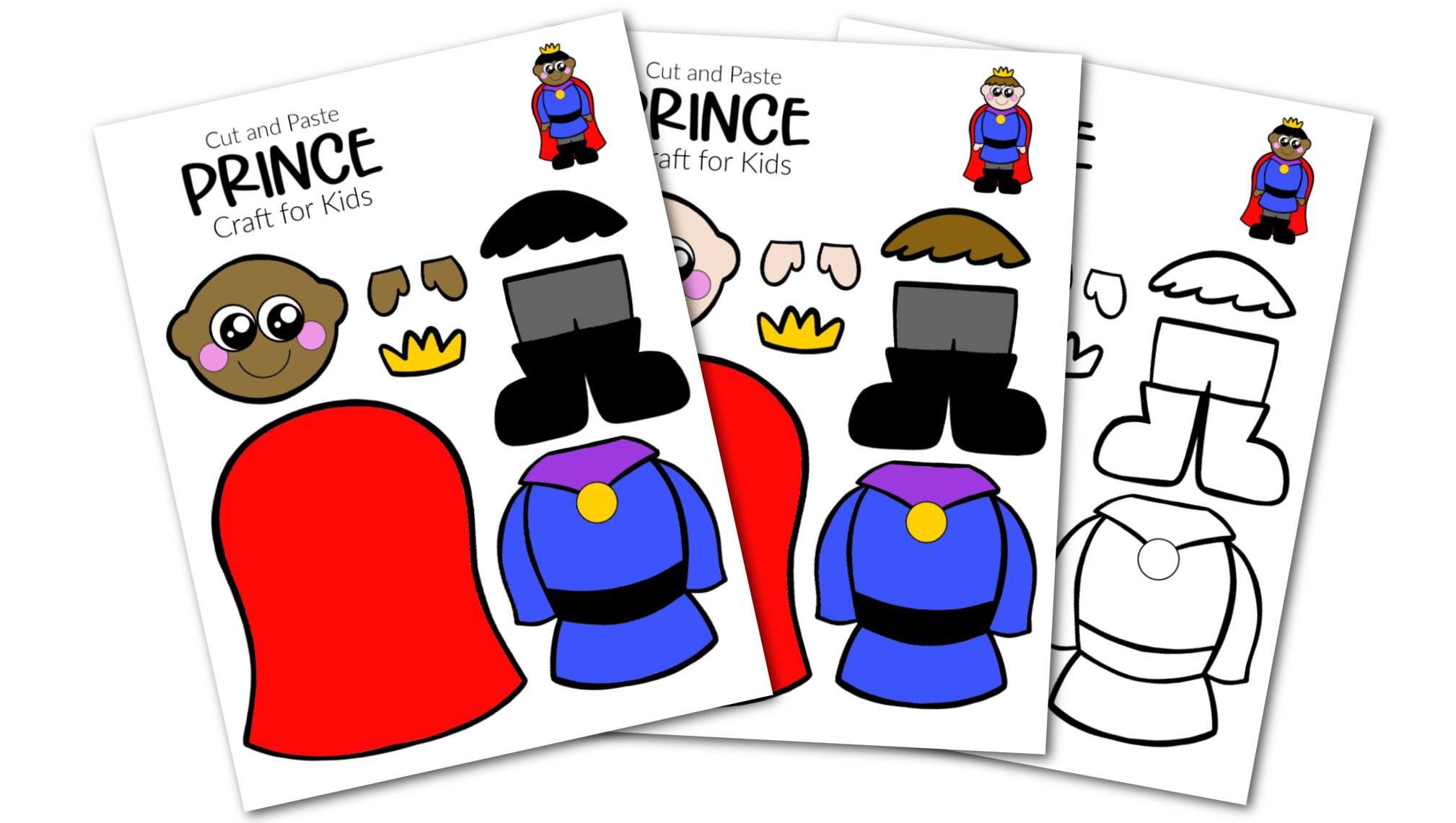 Free Printable Cut and Paste Prince Craft Template Craft for kids, preschoolers and toddlers