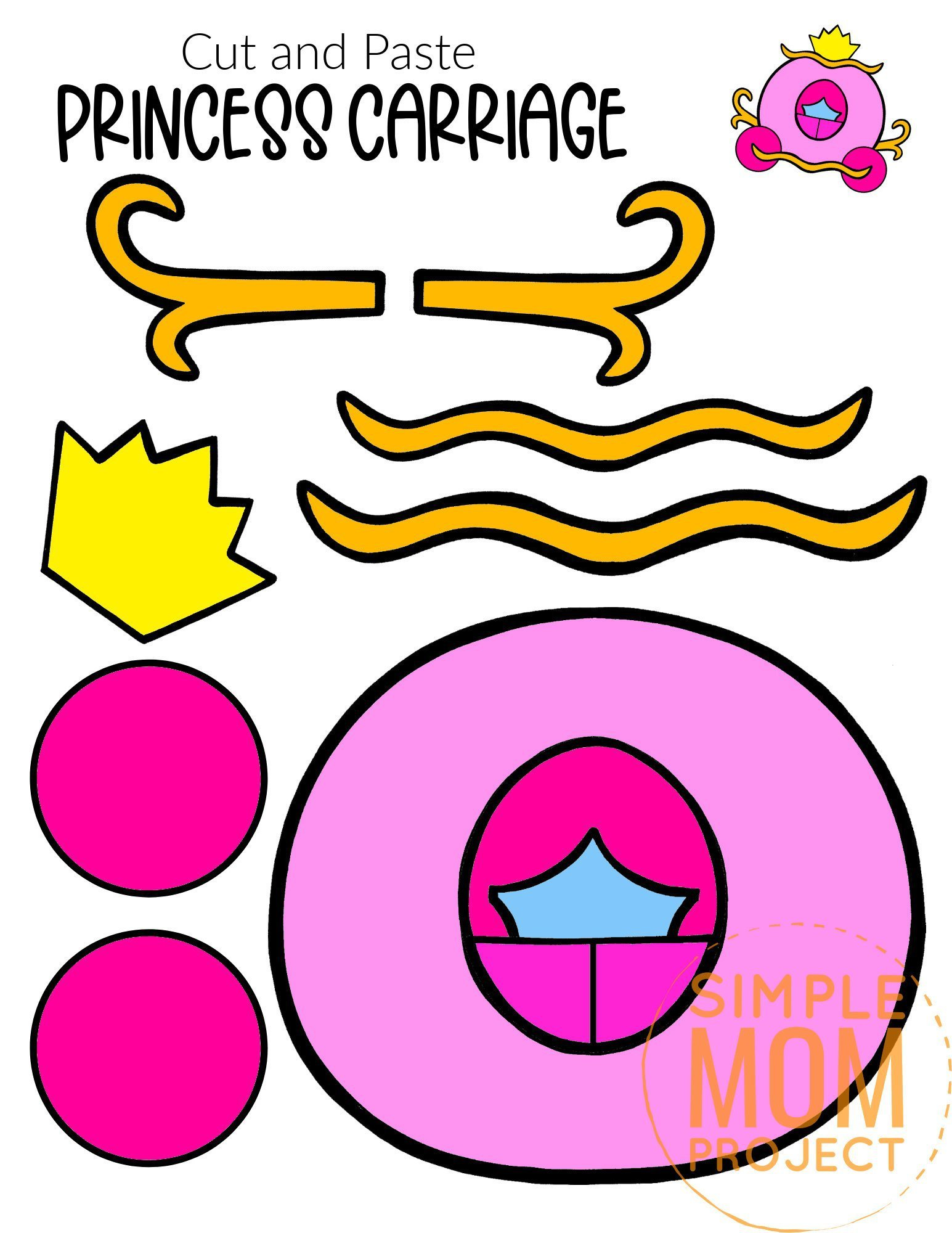 Free Printable Cut and Paste Princess Carriage Craft Template Craft for kids, preschoolers and toddlers