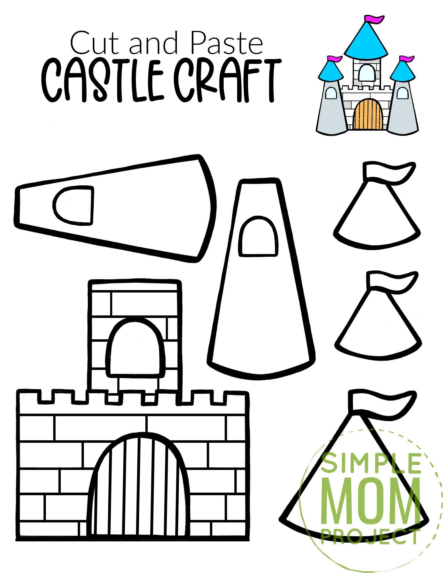 Free Printable Cut and Paste Princess Castle Craft Template Craft for kids, preschoolers and toddlers
