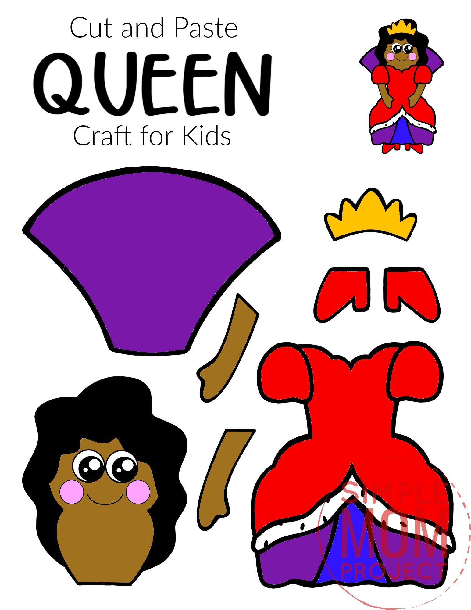 Free Printable Cut and Paste Queen Craft Template Craft for kids, preschoolers and toddlers