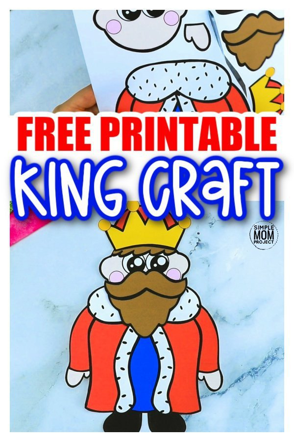 Free Printable Cut and Paste King Craft Template for Kids, preschoolers and toddler