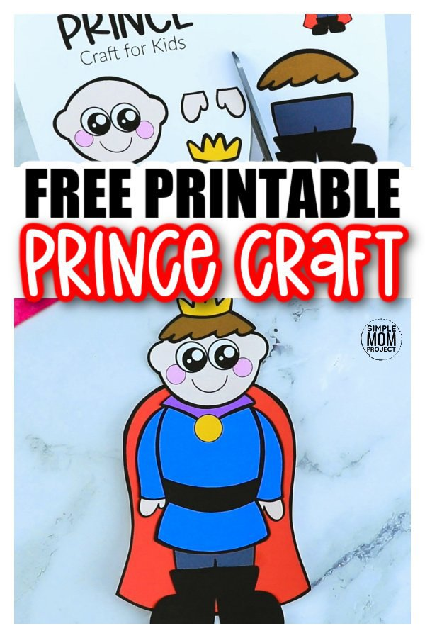 Free Printable Prince Craft template for kids, preschoolers and toddlers