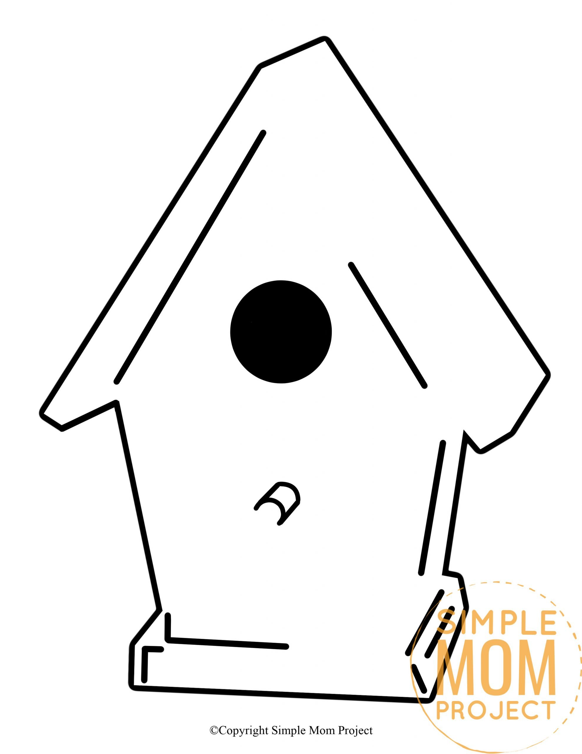 Free Printable Spring and Summer Bird House template silhouette for kids preschoolers and toddlers