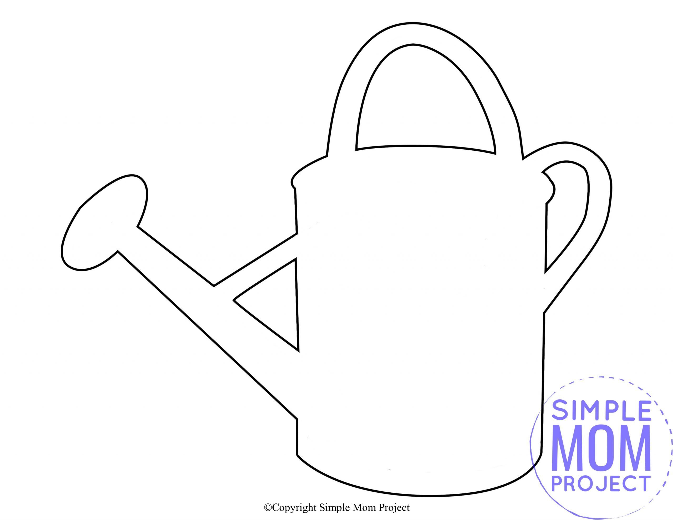 Free Printable Spring and Summer Watering Bucket Pail template silhouette for kids preschoolers and toddlers