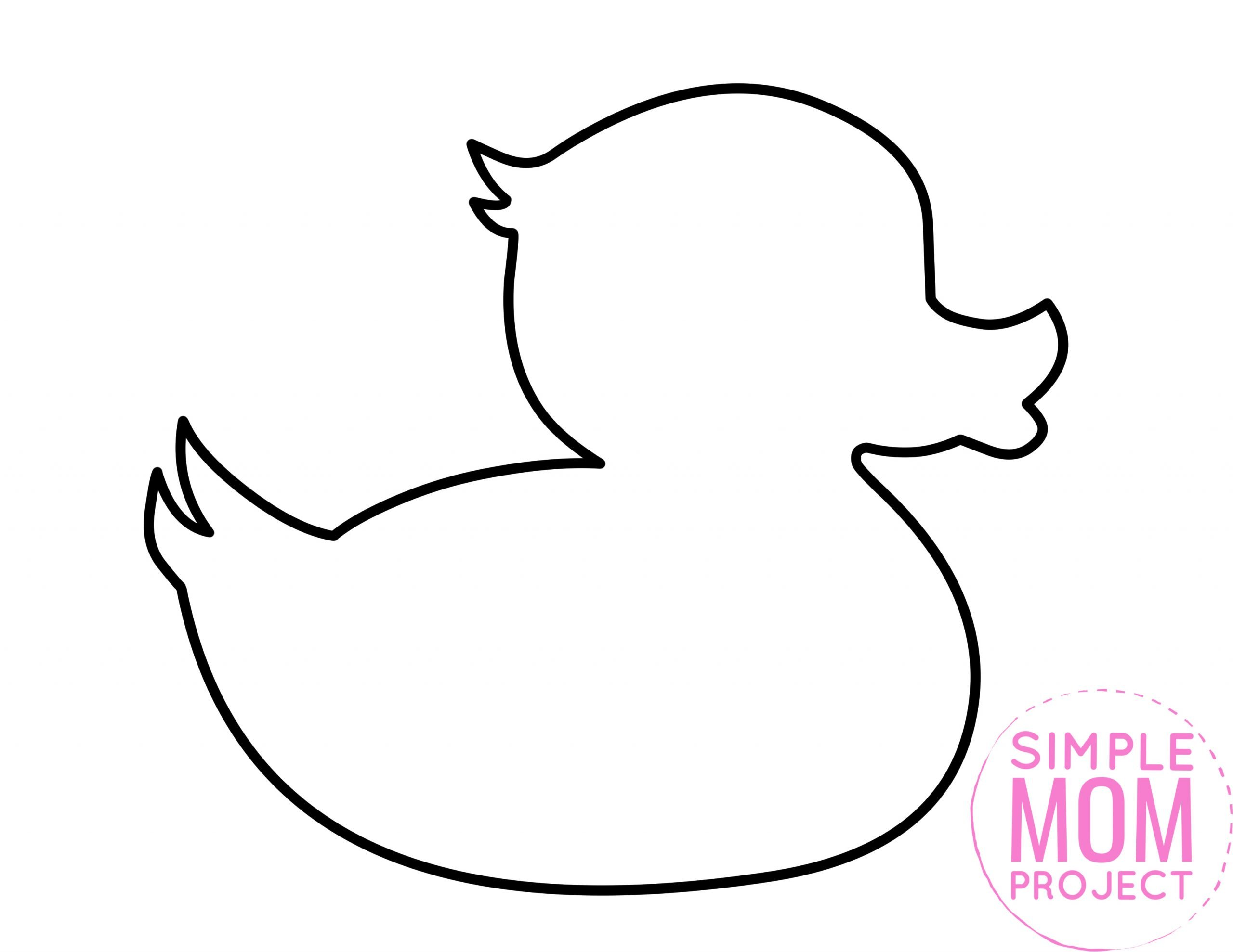 Free Printable Spring and Summer duck template silhouette for kids preschoolers and toddlers
