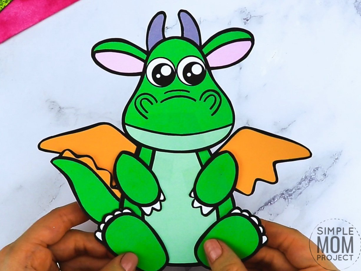Free printable dragon coloring page template for kids, preschoolers and kindergartners