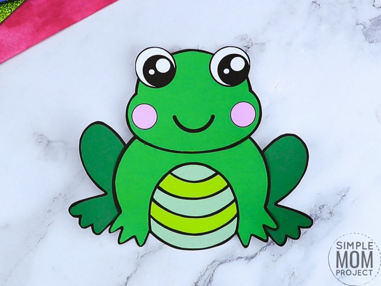 Free printable frog coloring page template for kids, preschoolers and kindergartners