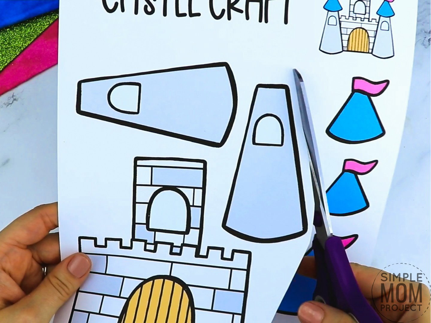 Free printable princess castle coloring page template for kids, preschoolers and kindergartners