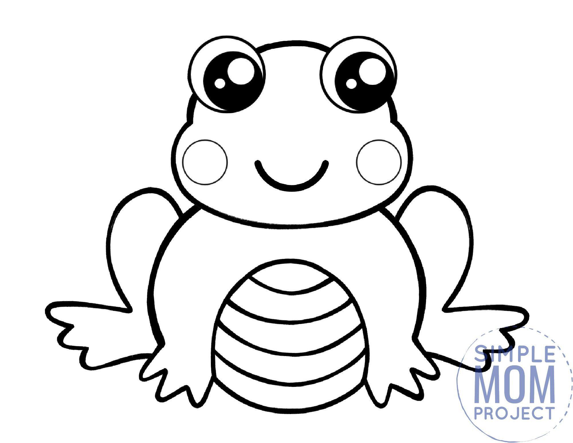 printable frog coloring page template for kids, preschoolers and kindergartners