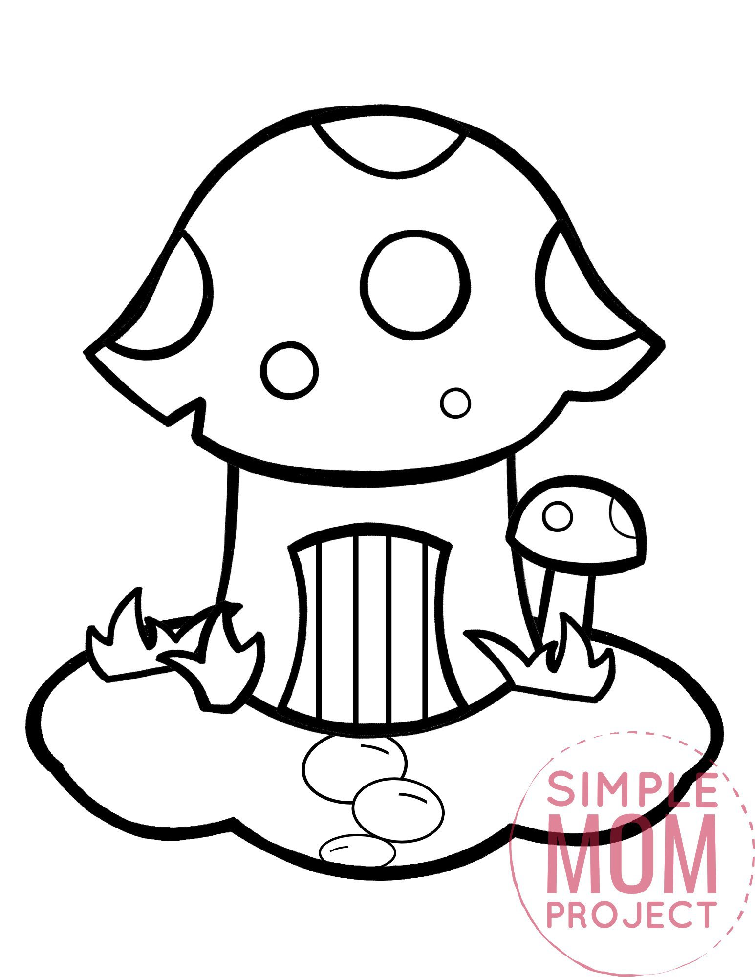 printable mushroom coloring page template for kids, preschoolers and kindergartners