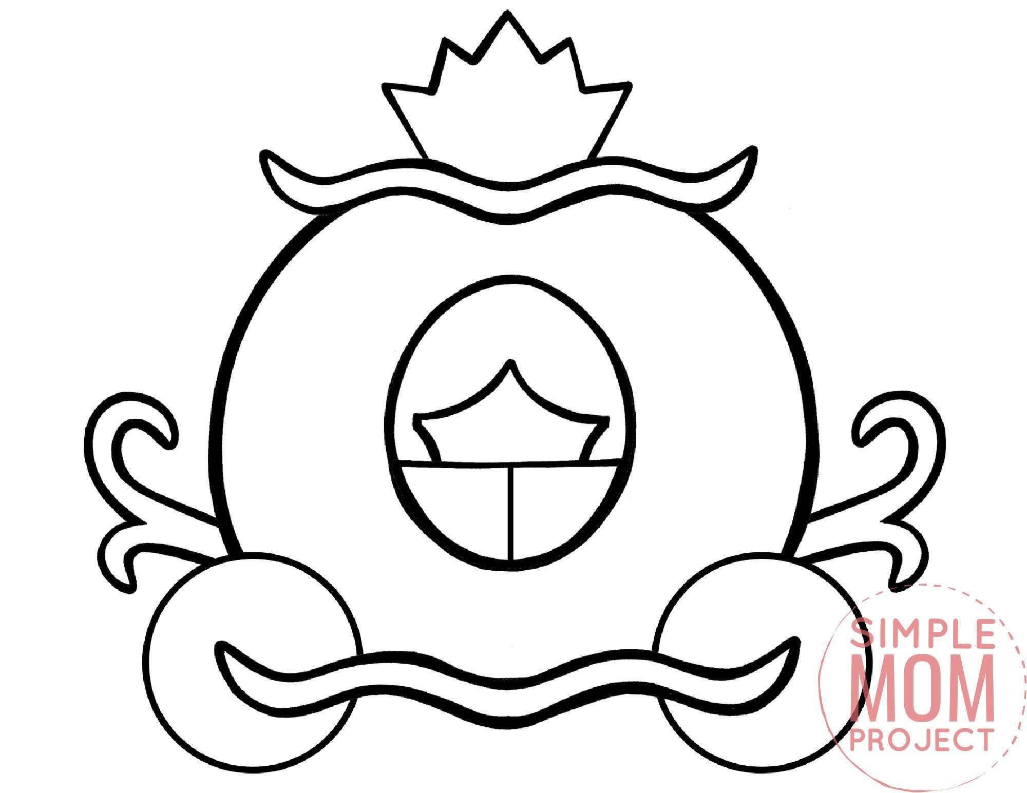 printable royal carriage coloring page template for kids, preschoolers and kindergartners