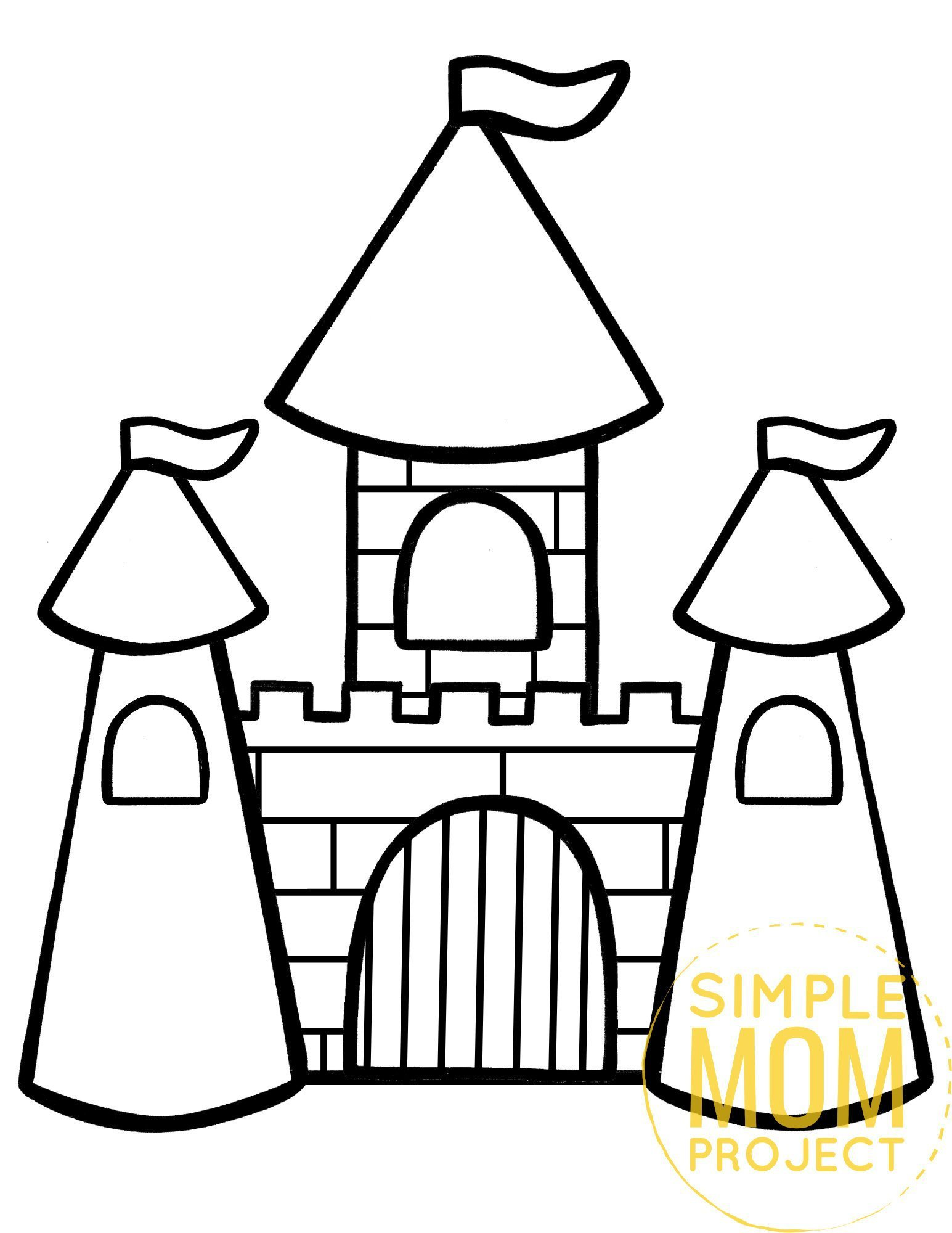Free printable royal castle coloring page template for kids, preschoolers and kindergartners