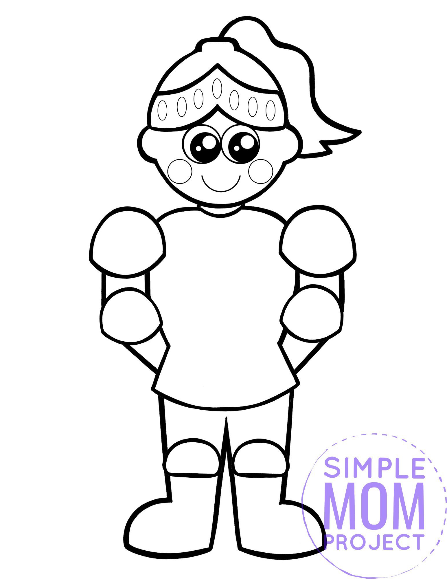 printable royal knight page template for kids, preschoolers and kindergartners