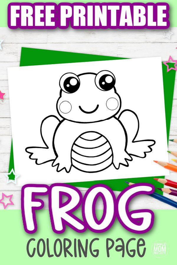 This cute frog coloring page might not be on a lily pad and it might not be a tree frog, but this amphibian cartoon is the perfect frog coloring page for an adult coloring book or for a simple kids art project. Click and download this free printable frog coloring sheet today!