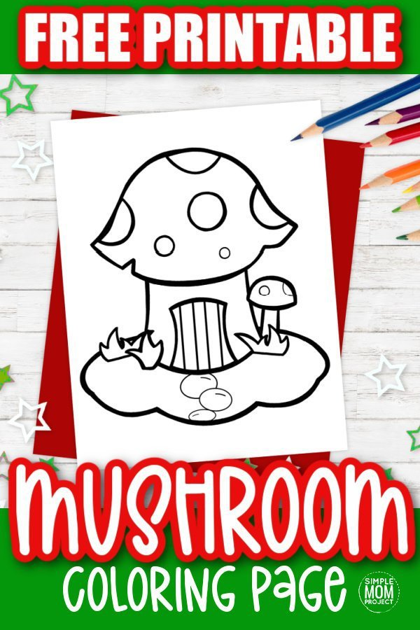 Free Printable Mushroom Coloring Page for kids preschoolers and toddlers 1