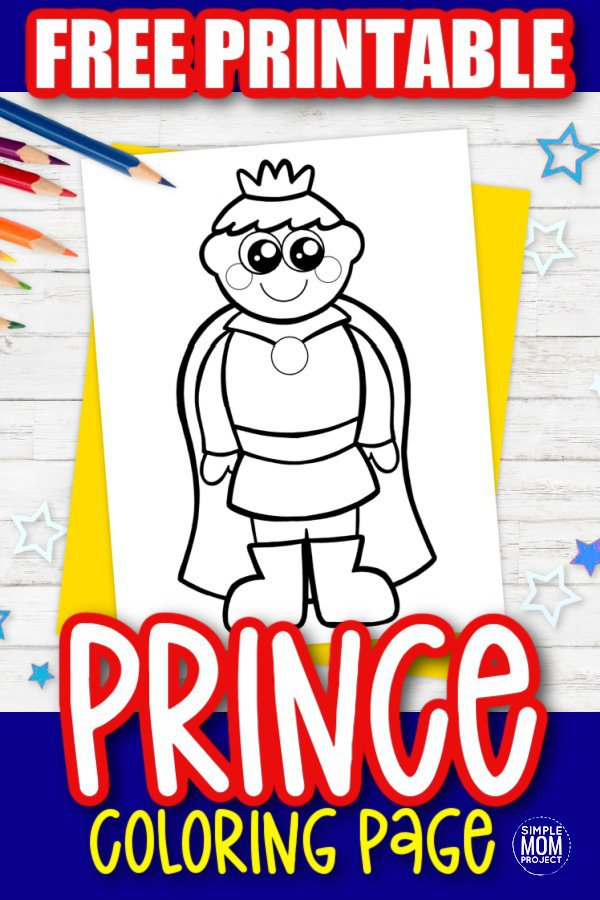 Free Printable Prince Coloring Page for kids preschoolers and toddlers 1