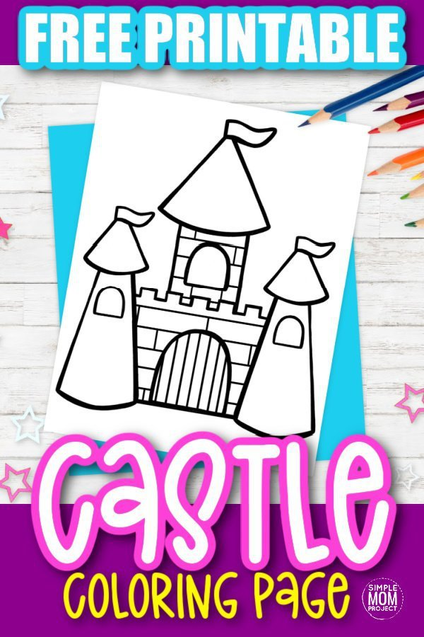 Free Printable Princess Castle Coloring Page for kids preschoolers and toddlers 1