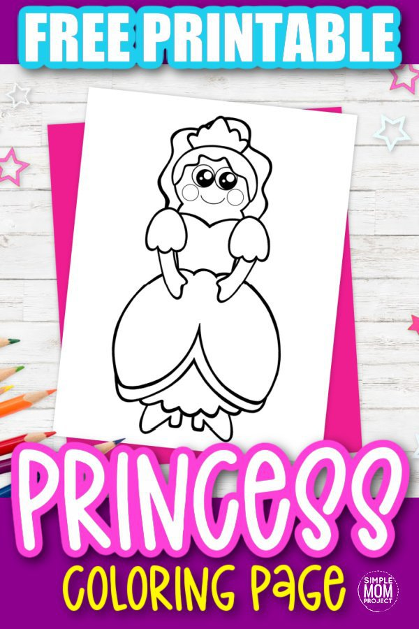 Free Printable Princess Coloring Page for kids preschoolers and toddlers 1