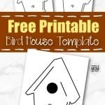 This simple and printable paper birdhouse template is perfect for cardboard cut out or wooden art projects! Teach your kids all about different birds by drawing your favorite right next to the bird house. Blue birds are a favorite in our house! You can even color this bird house template and glue it on a small gift box to make a cute little present for someone! #birdhousetemplates #springtemplates #SimpleMomProject