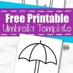 Click now and download this free printable cut out umbrella template. The umbrella stencil can be used as a coloring page for your April unit studies or when teaching about the letter L with your preschool students. Draw little raindrops or even a rainbow behind the umbrella template. Kids of all ages can really get creative with this template. #UmbrellaTemplate #SpringTemplates #SimpleMomProject