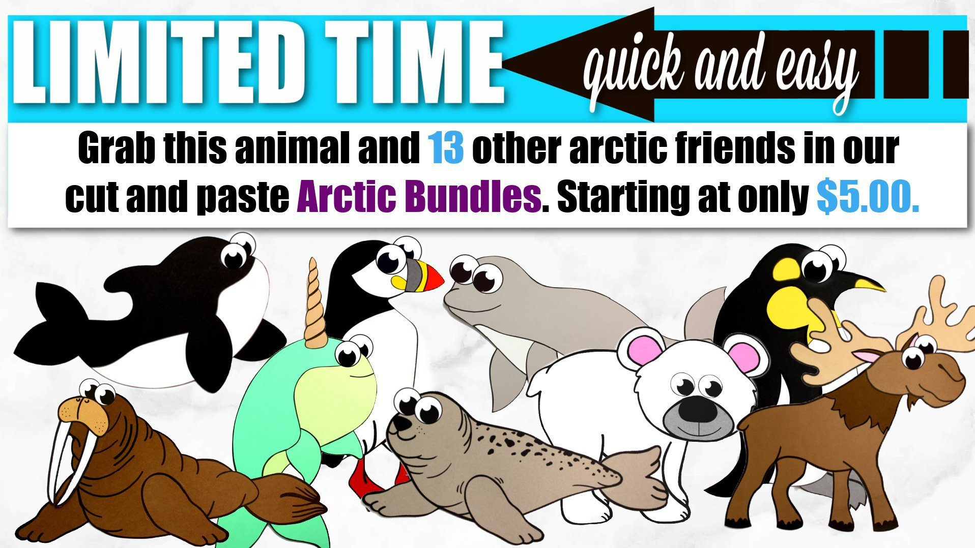 Printable Arctic Animal Crafts for Kids Preschoolers, toddlers and Kindergartners