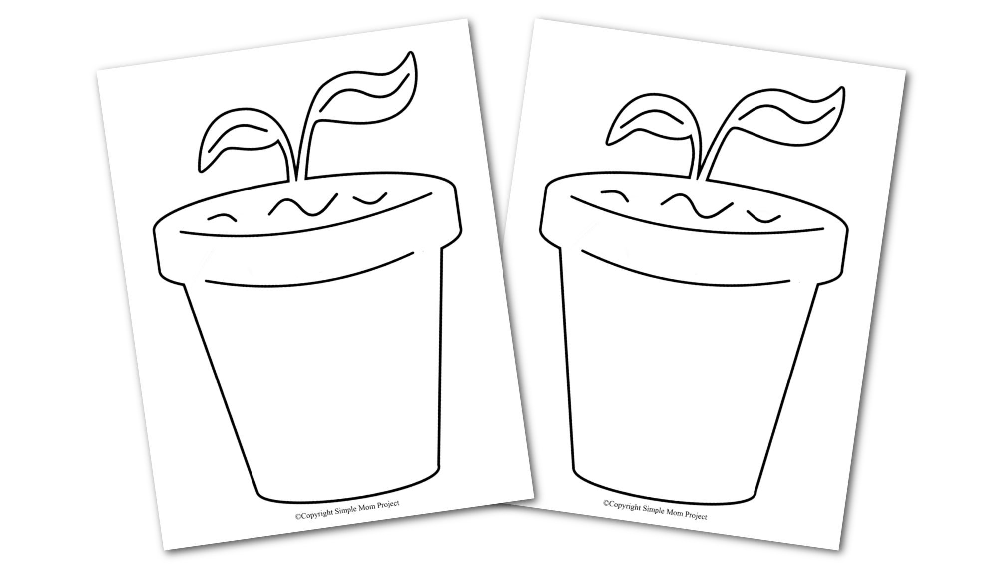 Free Printable Spring and Summer Flower Pot template silhouette for kids preschoolers and toddlers