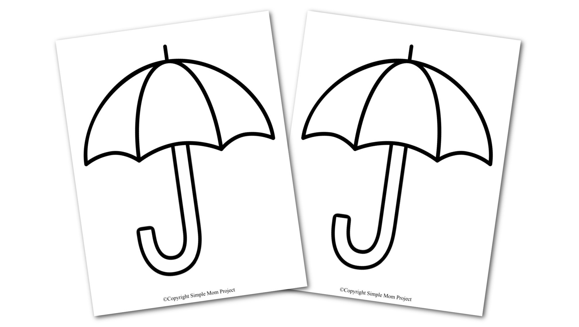 Free Printable Spring and Summer Umbrella template silhouette for kids preschoolers and toddlers