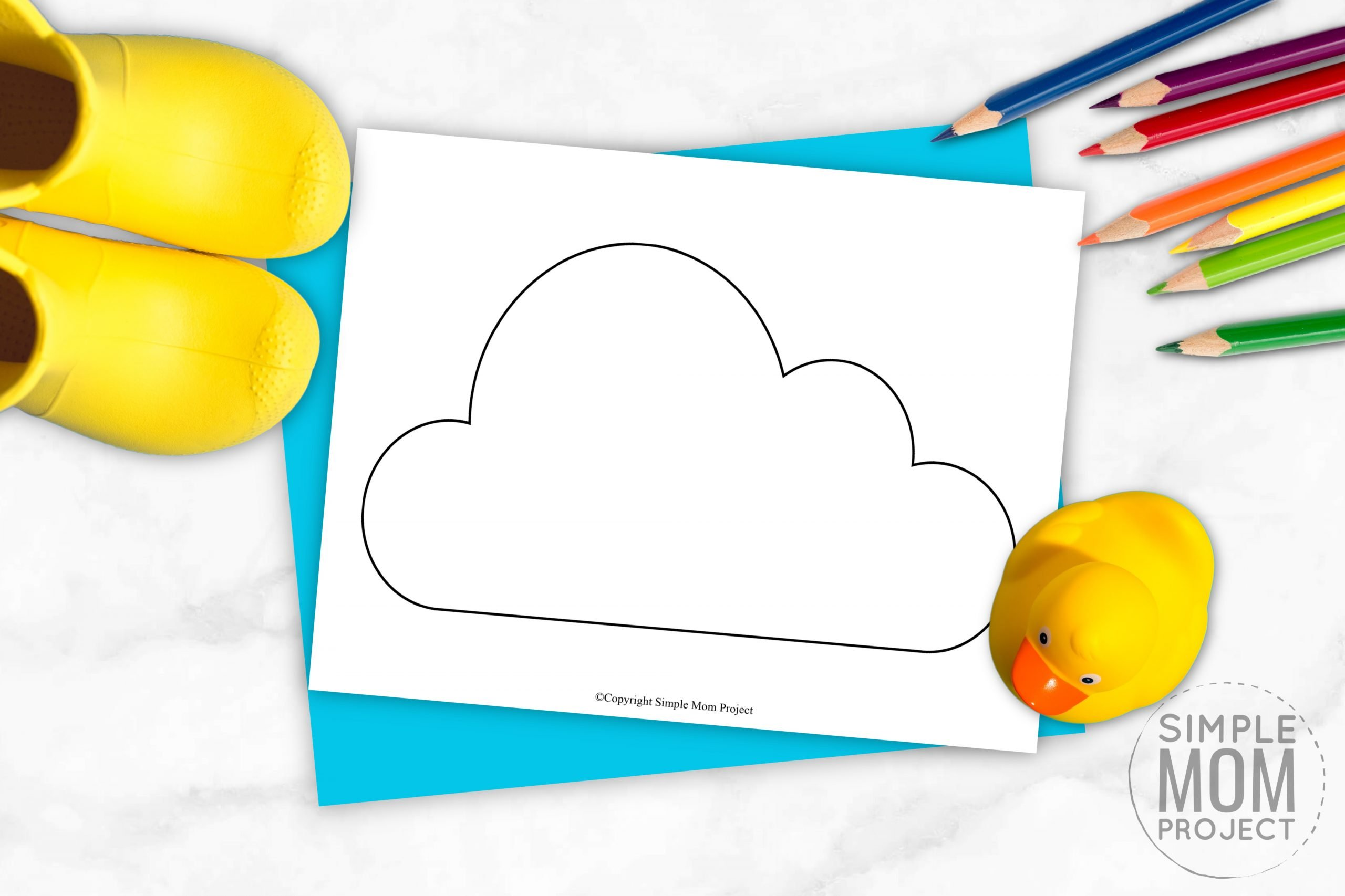 Free Printable Spring and Summer cloud template silhouette for kids preschoolers and toddlers
