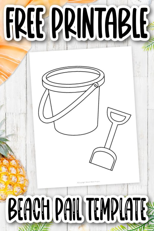 Are you looking for an easy stencil outline of a beach pail and shovel? Look no further! Use our free printable bucket and shovel template for your next coloring book or paper craft with your kids. These are a simple summer art project for kids of all ages including toddlers and kindergartners.