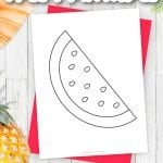 Are you planning a fun beach bash for the family? Use this free watermelon template for an invitation. You can even use them as fun watermelon coloring pages for the kids after they are tired of swimming! Click to download the free printable watermelon templates now.
