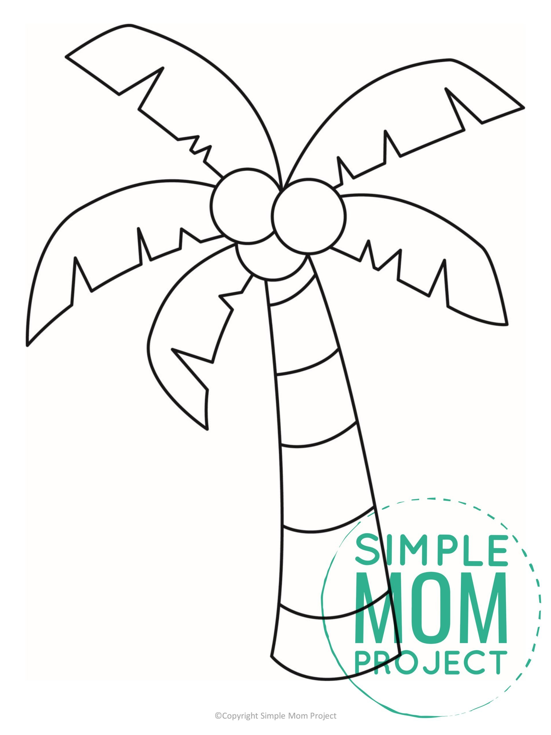 Free printable palm tree template for kids, preschoolers, and toddlers