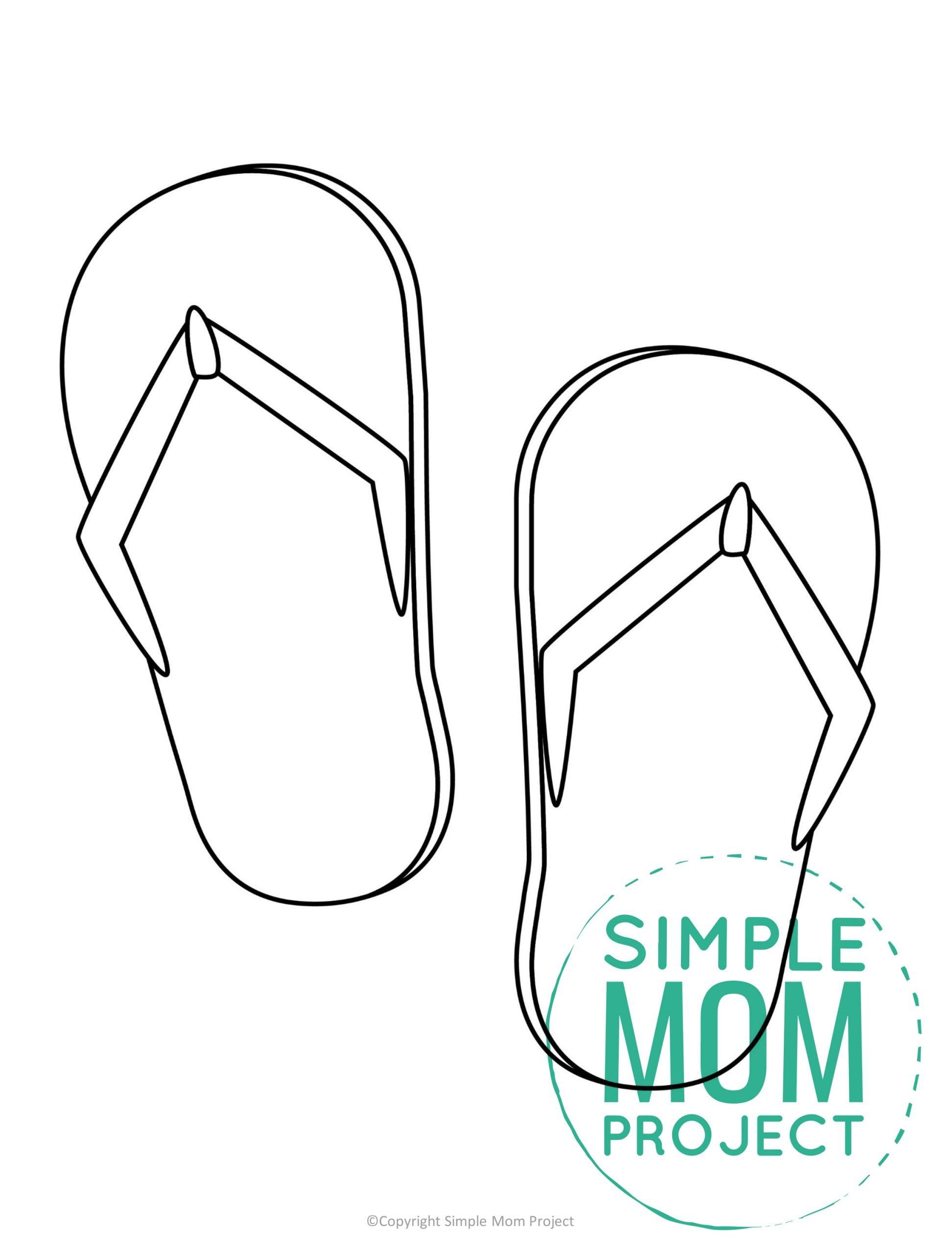 Free printable flip flops template for kids, preschoolers, and toddlers