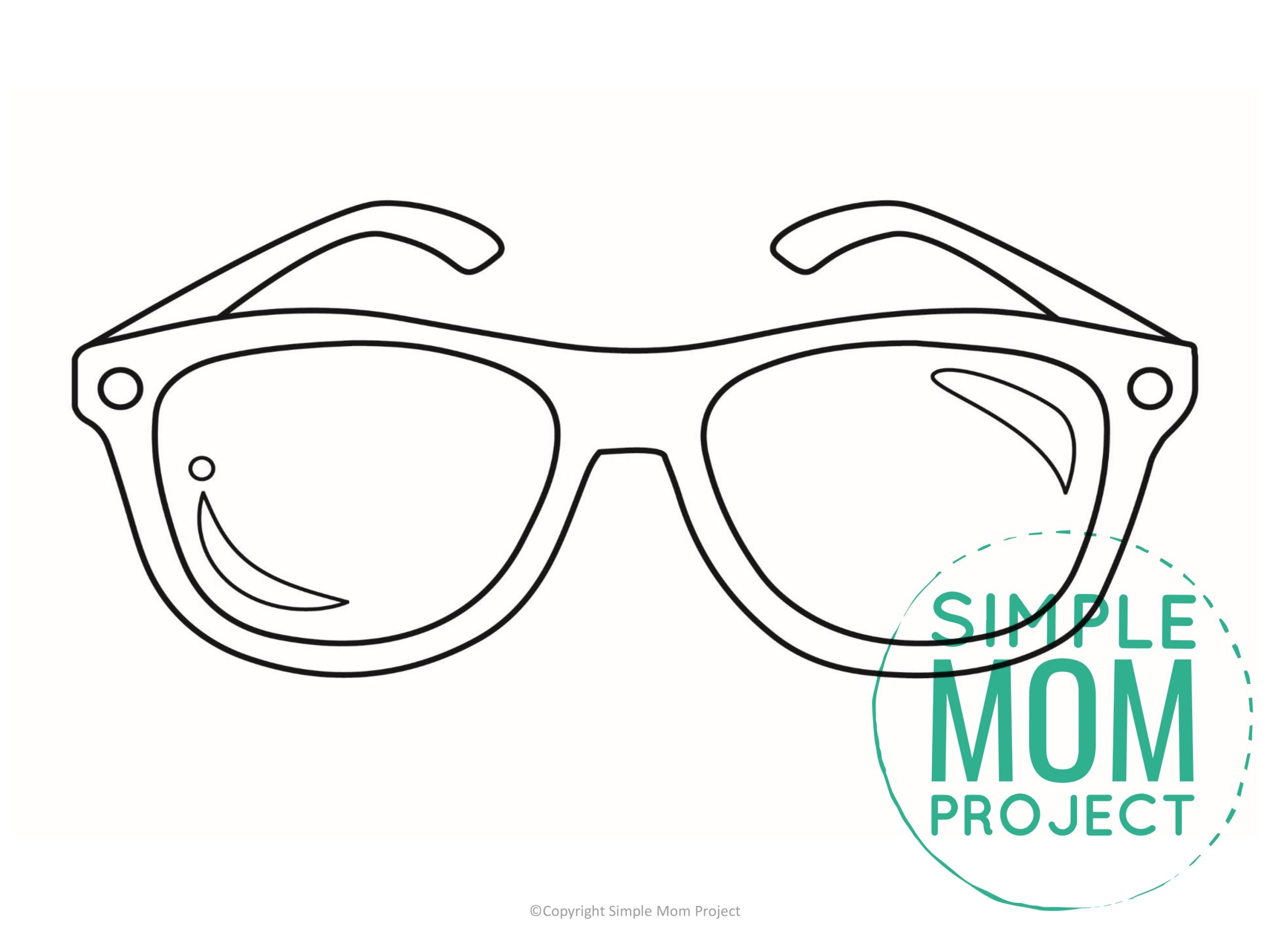 Free printable sunglasses template for kids, preschoolers, and toddlers