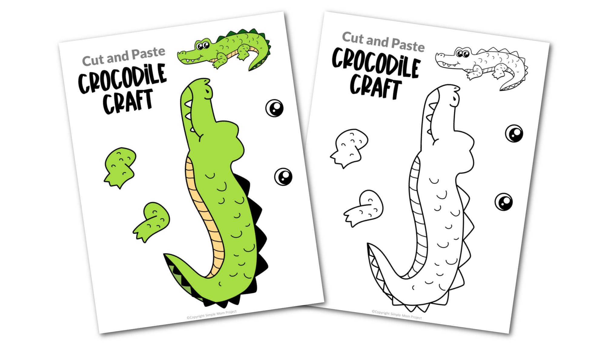 Crocodile Cut and Paste Craft for Toddlers, Preschoolers and Kindergarteners Convertkit