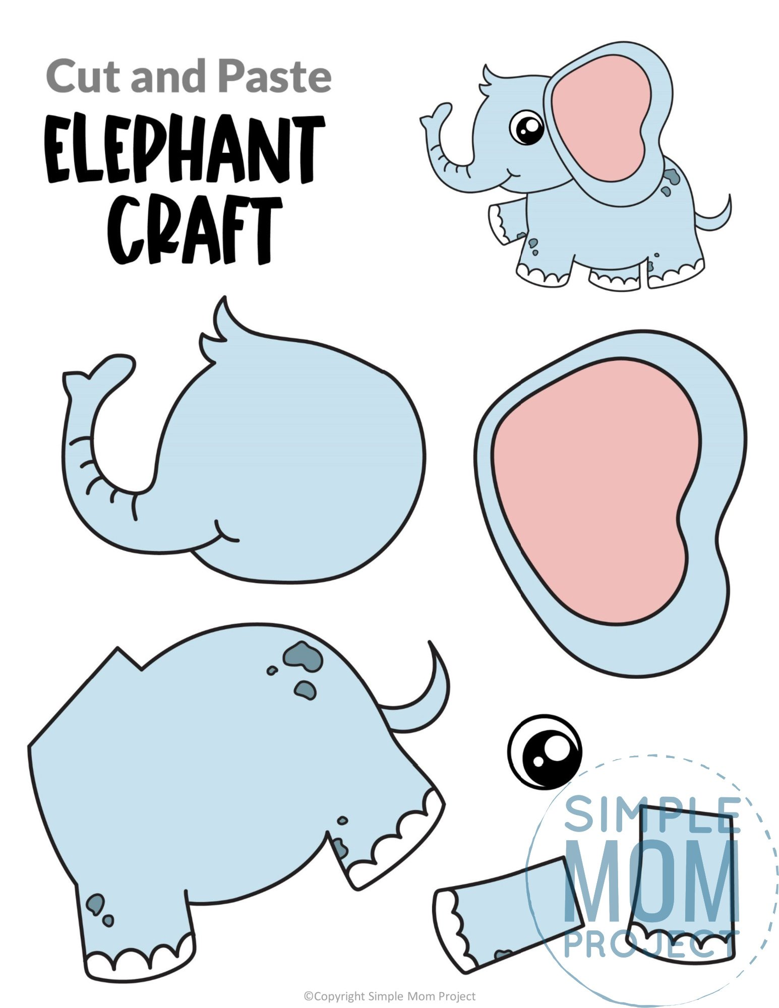 Elephant Cut and Paste Craft for Toddlers, Preschoolers and Kindergarteners