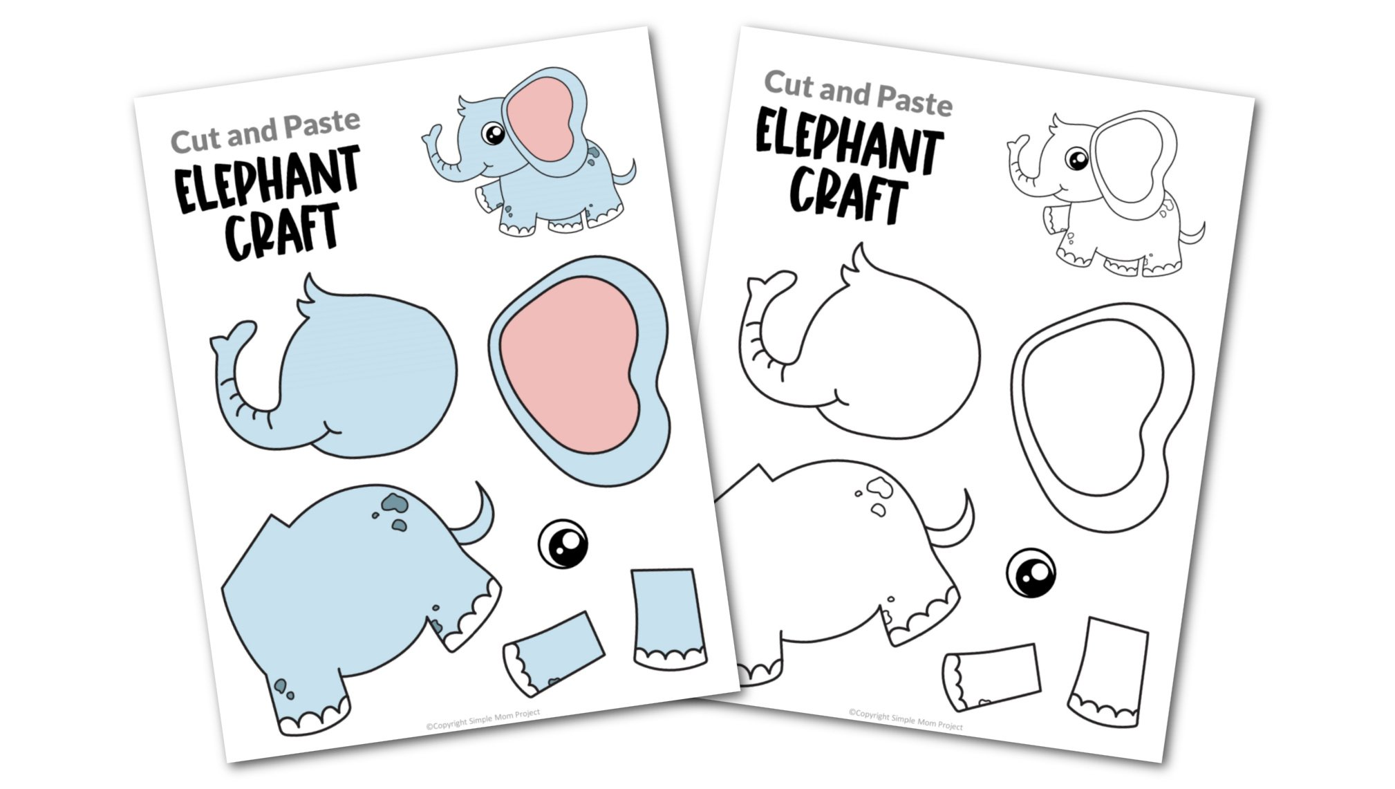 Elephant Cut and Paste Craft for Toddlers, Preschoolers and Kindergarteners Convertkit