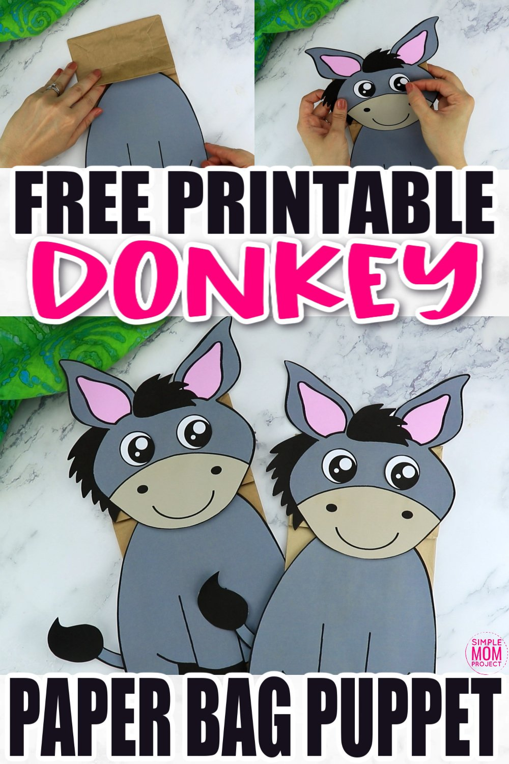 Are you looking for a fun way to put on a puppet show? Click now to download and print our paper bag puppet donkey template. Your kids will love putting on their favorite animal and make funny donkey noises! This donkey paper bag puppet craft is perfect for kids of all ages including preschoolers and toddlers.