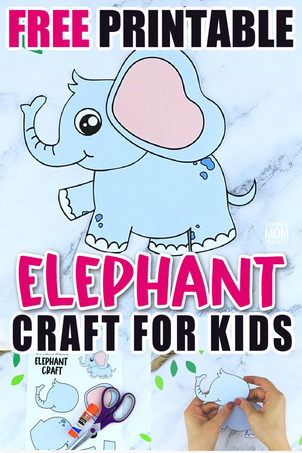 Free Printable Elephant Craft for preschoolers, toddlers and kindergartners 8