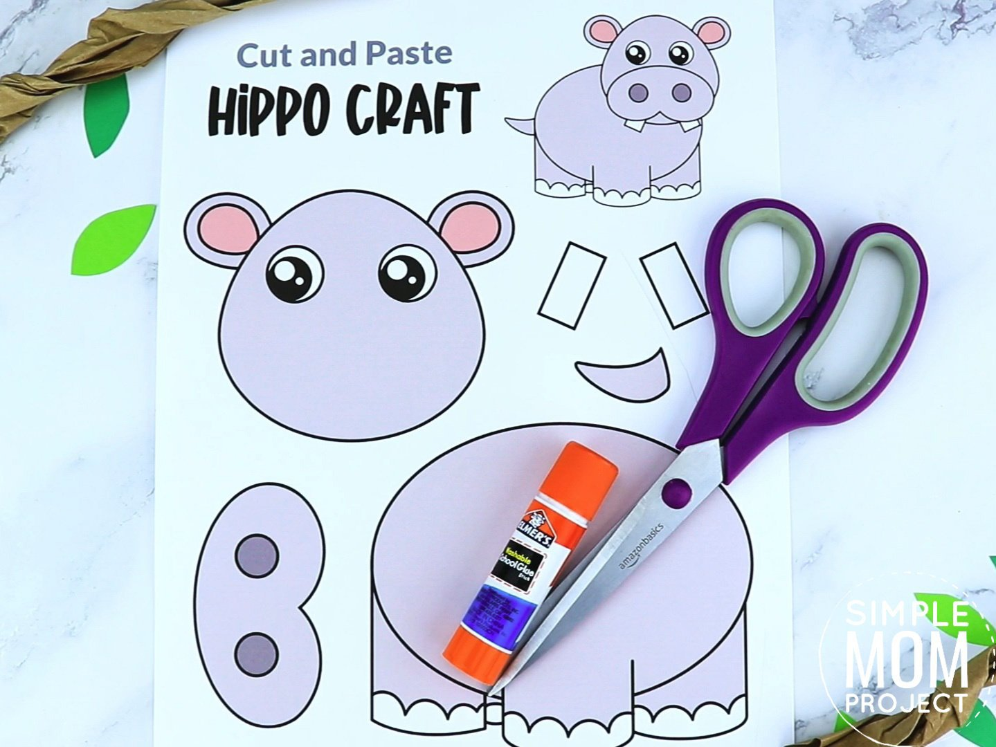 Free Printable Hippo Craft for preschoolers, toddlers and kindergartners