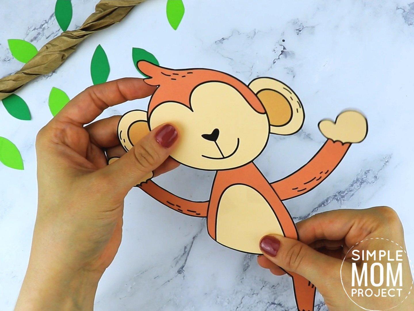 Free Printable Monkey Craft for preschoolers, toddlers and kindergartners